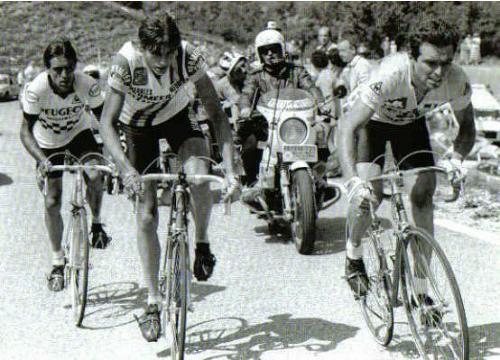 Bernaudeau, de Wolf, Hinault. Tour de France 15 juli 1981.